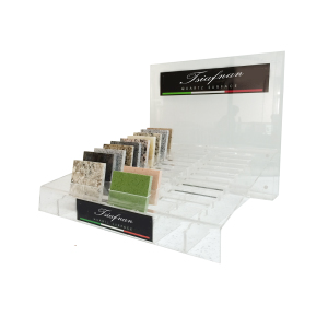 Stone Display Acrylic Rack,Countertops - 3-rows, Clear-S071