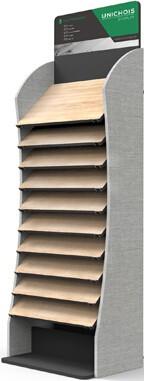 Metal Floor wooden Sample & wooden floor display rack-F034