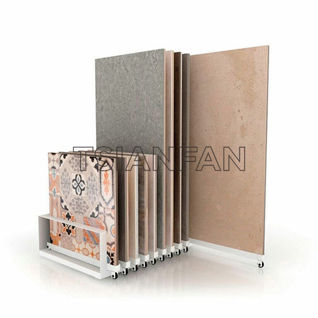 Ceramic Or Wooden Flooring Display Stand With Wheels ST-144 Stone display